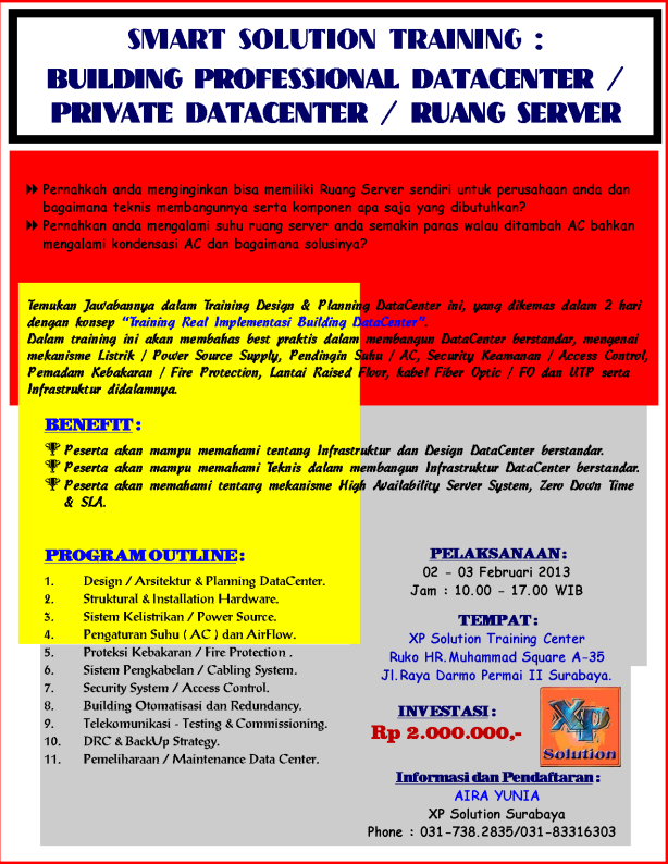 Brosur-Training-Building-a-Professional-and-Personal-DataCenter-02-03-Februari-2013